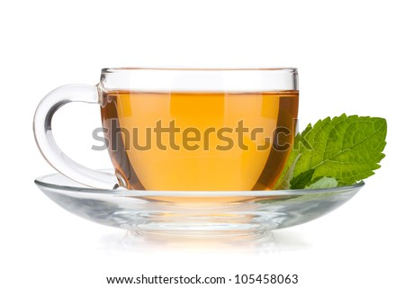 Cup of tea with mint leaves. Isolated on white background - stock photo