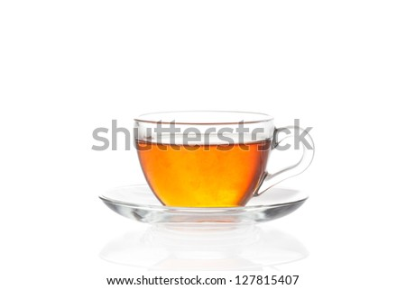 Cup of tea with saucer isolated on white background - stock photo