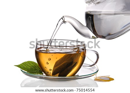 Cup of tea with teabag - stock photo