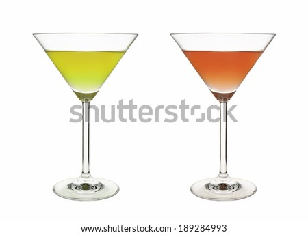 cup red green drink cocktail isolated on white background - stock photo