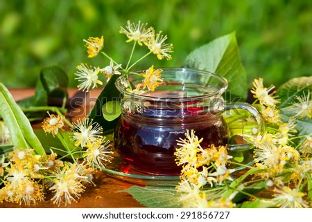 Cup with linden tea and flowers on wooden table in garden - stock photo
