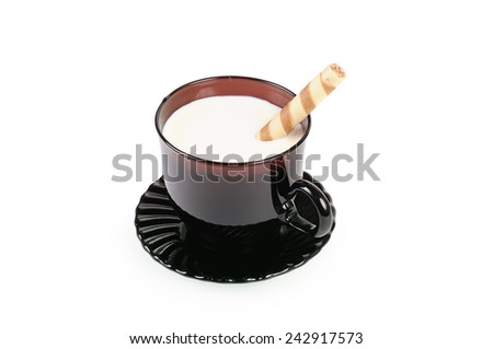 Cup with milk and cookies - stock photo