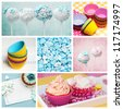cupcake collage in baby pink and blue - stock photo