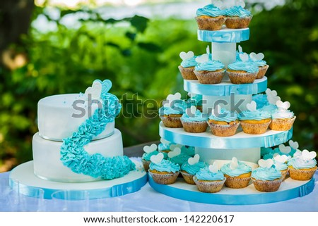 Cupcake Display at Wedding Reception - stock photo