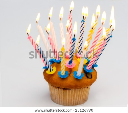 cupcake / muffin and candle - stock photo