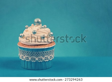 Cupcake on a blue background - stock photo