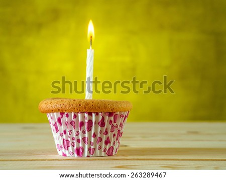 Cupcake on green background - stock photo