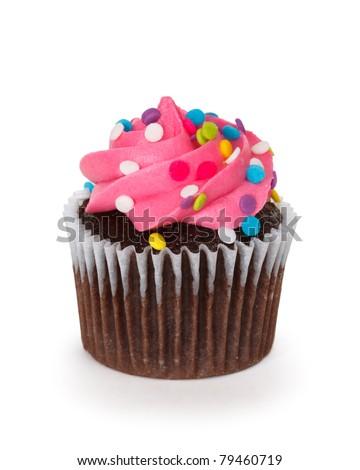 cupcake over white background - stock photo