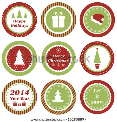 Cupcake toppers for Christmas. Raster version - stock photo