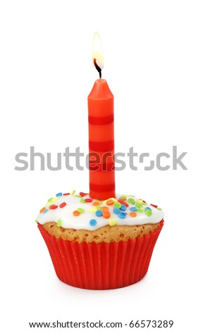 Cupcake with candle isolated on white background - stock photo