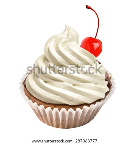 Cupcake with cherry icing and maraschino cherry topping on white background - stock photo