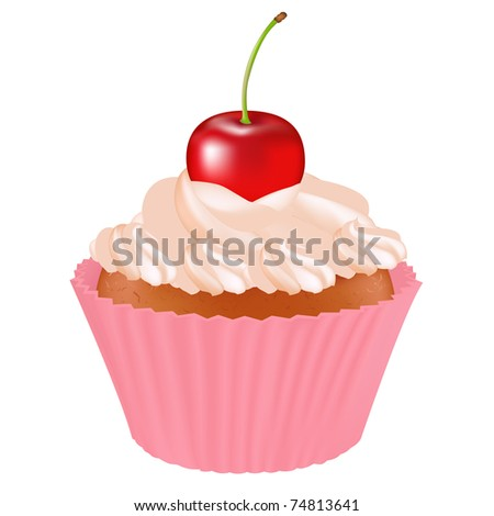 Cupcake With Cherry, Isolated On White Background - stock photo