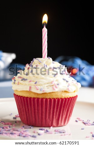 Cupcake with icing and sprinkles topped with one burning birthday candle. - stock photo