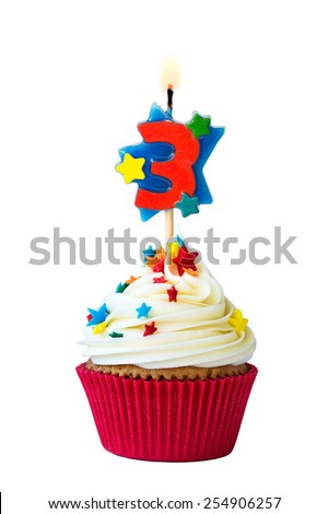Cupcake with number three candle - stock photo