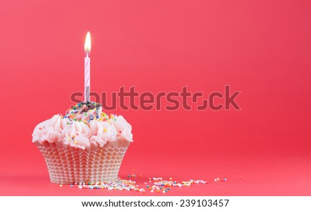 Cupcake with the burning festive candle on a red background - stock photo