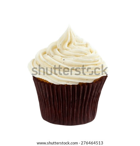 Cupcake with Vanilla Bean Cream on White Background. Selective focus. - stock photo