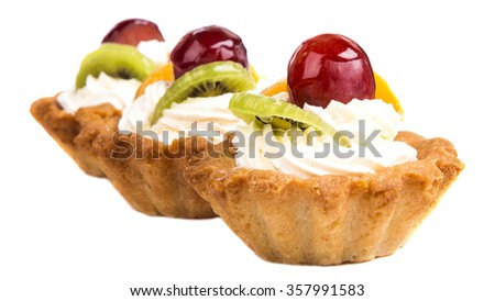 Cupcake with whipped cream - stock photo