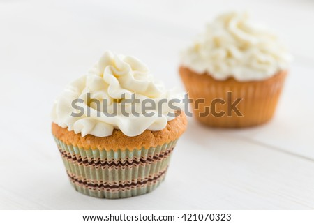 cupcakes close-up, shallow depth of field - stock photo
