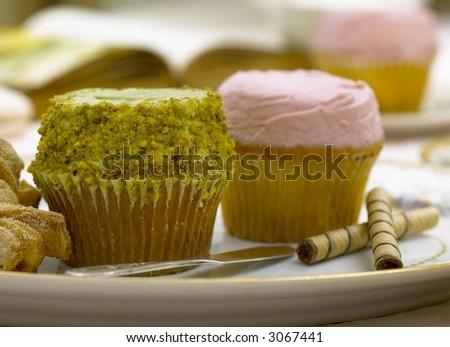 Cupcakes- Crumbs NYC, strawberry-Pistacchio - stock photo