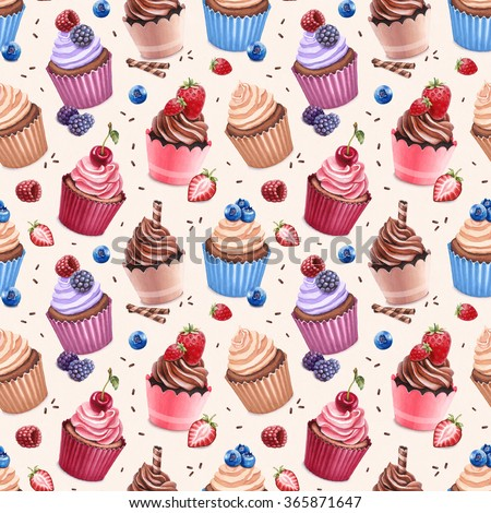 Cupcakes illustration. Seamless pattern - stock photo