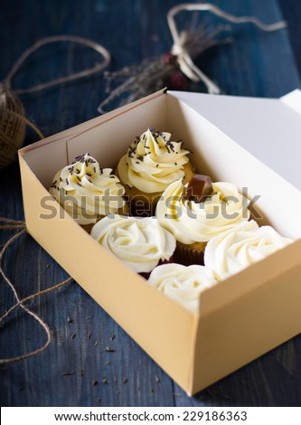 Cupcakes in a box - stock photo