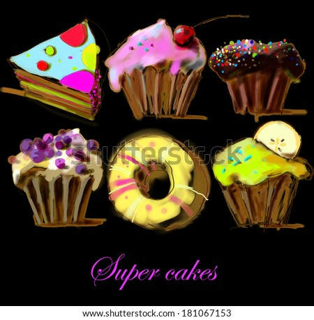 Cupcakes, muffins, donut and pie on black background. Greeting card. Illustration - stock photo
