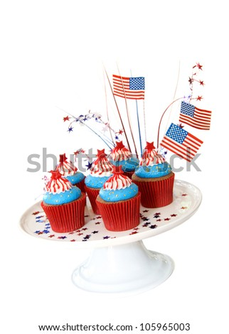 Cupcakes to celebrate 4th of July - stock photo