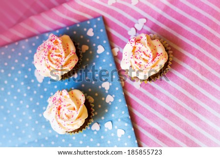 Cupcakes . top view - stock photo