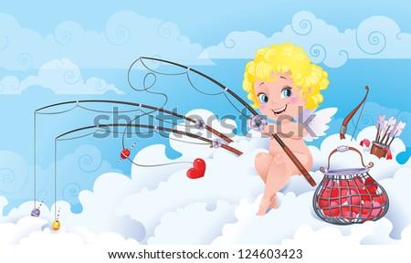 Cupid the Fisherman. St.Valentine cartoon. - stock photo
