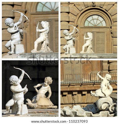 cupids images - details from  fountain in Florence, Boboli Gardens, Italy, Europe - stock photo
