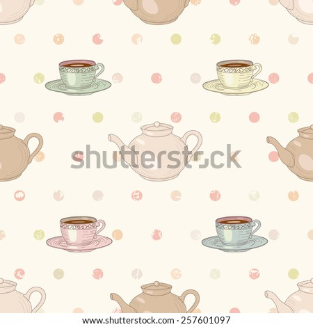 Cups and teapots with tea on polka dot background seamless pattern. Vintage engraving style - stock photo