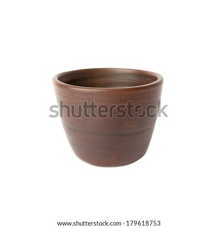 Cups for wine from clay. Hand made in the old Armenian style  isolated over white - stock photo