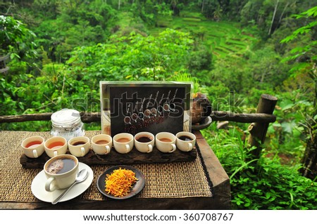 Cups of Coffee in the Cafe Among Nature in Bali - stock photo