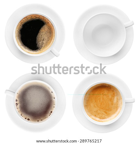 Cups of coffee isolated on white - stock photo