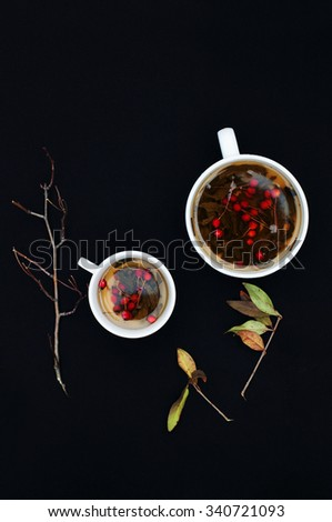 Cups of fresh herbal tea on black table. Cup of green herbal tea. Herbal tea. Botanical. Branch. Top view. Black  background. White tea cups. - stock photo