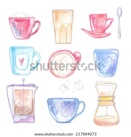 Cups of tea and coffee, drawn with colored pencils on white background - stock photo