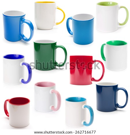 cups on a white background isolated - stock photo