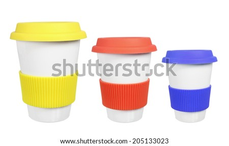 Cups with Lids on White Background - stock photo