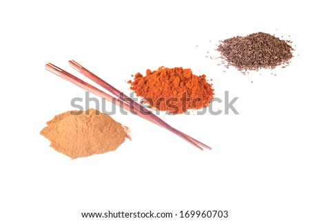 Curcuma or curry, pepper, chili pepper spices.  Isolated on white. - stock photo
