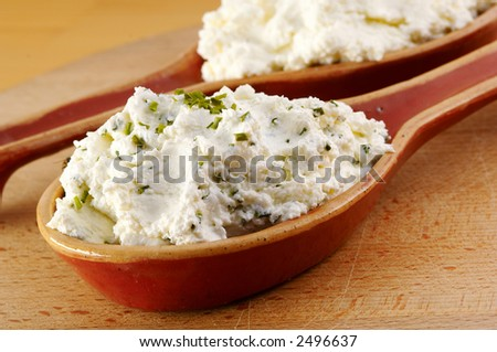 Curd with herbs - stock photo
