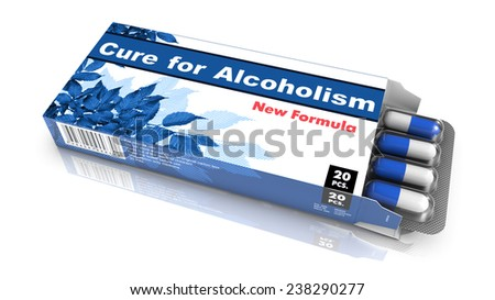 Cure for Alcoholism - Blue Open Blister Pack Tablets Isolated on White. - stock photo