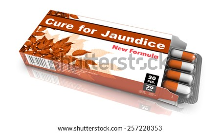 Cure for Jaundice - Brown Open Blister Pack Tablets Isolated on White. - stock photo