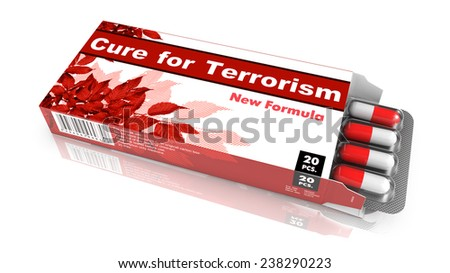 Cure for Terrorism - Red Open Blister Pack Tablets Isolated on White. - stock photo