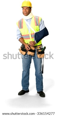 Curious Male Construction Worker with short black hair in uniform using neck brace and having arm in a sling - Isolated - stock photo