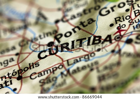 Curitiba in Brazil on the Map. - stock photo