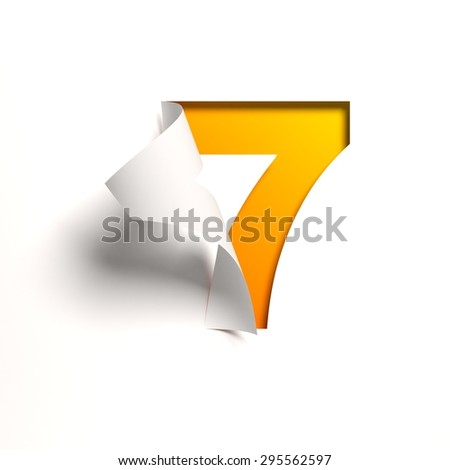 Curl paper font number 7 - stock photo