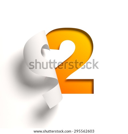 Curl paper font number 2 - stock photo