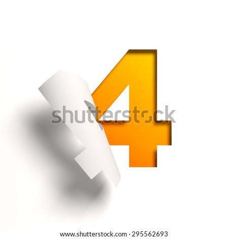 Curl paper font number 4 - stock photo