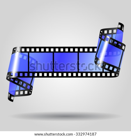 Curled blue film strip on gray background. Movies concept. Contain the Clipping Path - stock photo