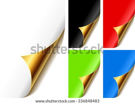 Curled golden page corner with color front. - stock photo